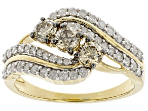 Pre-Owned Champagne And White Diamond 10k Yellow Gold 3-Stone Ring 1.00ctw