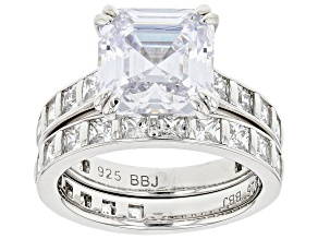Pre-Owned White Cubic Zirconia Rhodium Over Silver Ring With Band Set (6.87ctw DEW)