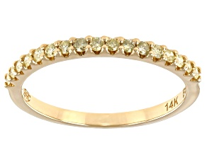 Pre-Owned Natural Yellow Diamond 14k Yellow Gold Band Ring 0.23ctw