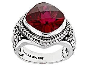 Pre-Owned Red Lab Created Ruby Silver Ring 7.60ct