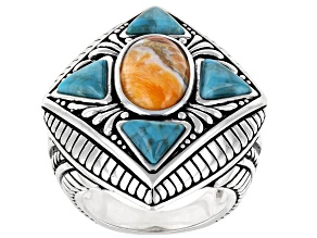 Pre-Owned Orange Spiny Oyster Shell & Blue Turquoise Rhodium Over Sterling Silver Ring