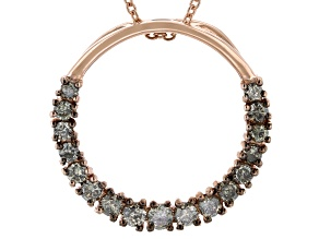 Pre-Owned Champagne Diamond 18k Rose Gold Over Sterling Silver Circle Pendant With Chain 0.75ctw