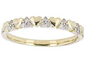 Pre-Owned White Diamond 10k Yellow Gold Heart Band Ring 0.10ctw