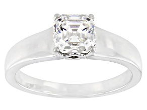 Pre-Owned Fabulite strontium titanate rhodium over sterling silver solitaire ring 1.40ct