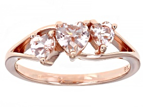 Pre-Owned Peach Morganite 18k Rose Gold Over Silver Ring .70ctw