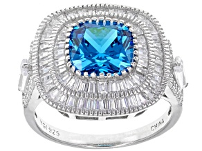 Pre-Owned Blue & White Cubic Zirconia Rhodium Over Sterling Silver Center Design Ring 7.67ctw