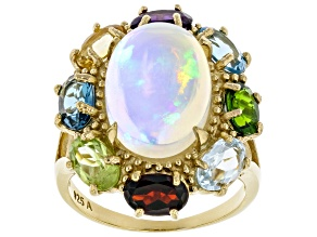 Pre-Owned Multicolor Ethiopian Opal  18k Yellow Gold Over Sterling Silver Ring 6.70ctw