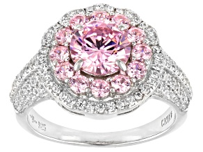 Pre-Owned Pink And White Cubic Zirconia Rhodium Over Sterling Silver Ring 3.57ctw