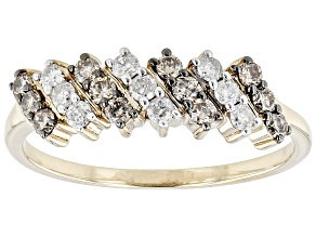 Pre-Owned Champagne And White Diamond, 10k Yellow Gold Band Ring 0.45ctw