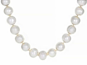 Pre-Owned White Cultured Freshwater Pearl Rhodium Over Sterling Silver 24 Inch Necklace