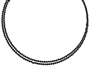Pre-Owned Black Spinel Stainless Steel Wrap Choker Necklace
