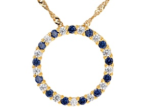 Pre-Owned Blue And White Cubic Zirconia 18K Yellow Gold Over Sterling Silver Pendant With Chain 1.40