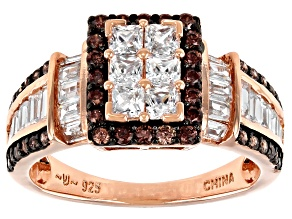 Pre-Owned White And Mocha Cubic Zirconia 18k Rose Gold Over Sterling Silver Ring 2.72ctw