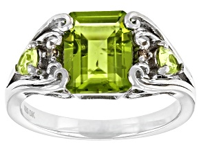 Pre-Owned Green Peridot Rhodium Over Sterling Silver Ring 2.44ctw