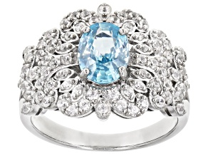 Pre-Owned Blue Zircon Rhodium Over Sterling Silver Ring. 2.38ctw