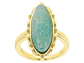 Pre-Owned Green Kingman Turquoise 18K Gold Over Silver Ring
