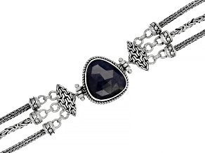 Pre-Owned Blue Sapphire Sterling Silver Bracelet 9.29ctw
