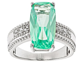 Pre-Owned Green Lab Created Spinel Rhodium Over Sterling Silver Ring 5.67ctw
