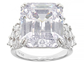 Pre-Owned White Cubic Zirconia Rhodium Over Sterling Silver Ring 30.32ctw