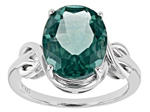Pre-Owned Teal Fluorite Rhodium Over Sterling Silver Ring. 5.53ctw
