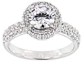 Pre-Owned White Cubic Zirconia Platinum Over Sterling Silver Ring 3.92ctw