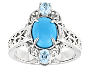 Pre-Owned Sleeping Beauty Turquoise Rhodium Over Sterling Silver Ring. 0.37ctw