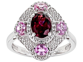 Pre-Owned Raspberry Color Rhodolite Rhodium Over Sterling Silver Ring 2.21ctw