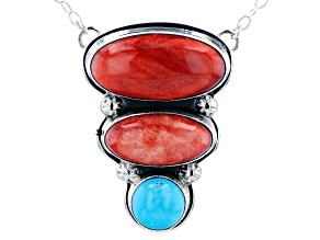 Pre-Owned Round Sleeping Beauty Turquoise and Spiny Oyster Rhodium Over Silver Necklace
