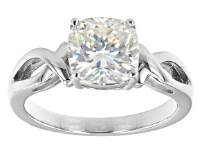 Pre-Owned Fabulite strontium titanate rhodium over sterling silver solitaire ring 3.25ct