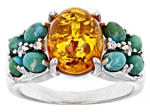 Pre-Owned Orange Amber Rhodium Over Sterling Silver Ring 0.05ctw