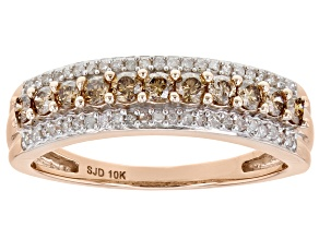 Pre-Owned Champagne And White Diamond 10k Rose Gold Band Ring 0.50ctw