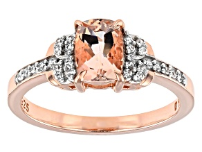Pre-Owned Peach Morganite 18K Rose Gold Over Sterling Silver Ring 0.79ctw
