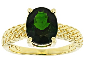 Pre-Owned Green Chrome Diopside 18K Yellow Gold Over Sterling Silver Ring. 2.30ct