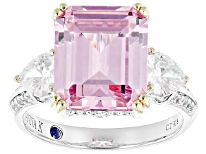 Pre-Owned Pink And White Cubic Zirconia Platineve Ring 11.12ctw