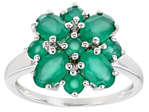Pre-Owned Green Oval Onyx and Green Round Onyx Rhodium Over Sterling Silver Ring 1.76ctw