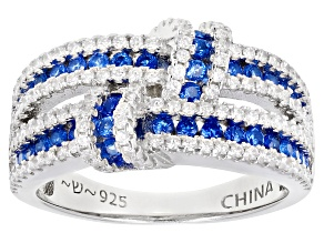 Pre-Owned Blue Lab Created Spinel And White Cubic Zirconia Rhodium Over Sterling Silver Ring 1.98ctw