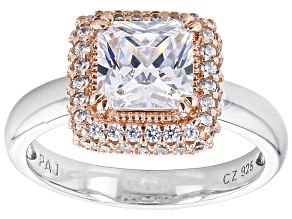 Pre-Owned White Cubic Zirconia Rhodium And 18k Rose Gold Over Sterling Silver Ring 3.34ctw