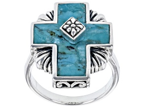 Pre-Owned Blue Turquoise Rhodium Over Sterling Silver Cross Ring