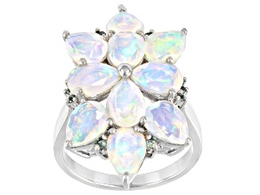 Pre-Owned Ethiopian Opal Rhodium Over Sterling Silver Ring 3.65ctw