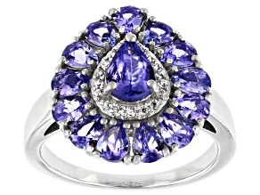 Pre-Owned Blue Tanzanite With White Zircon Rhodium Over Sterling Silver Ring 2.65ctw