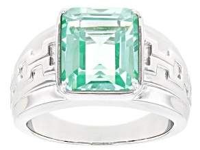 Pre-Owned Lab Created Green Spinel Rhodium Over Sterling Silver Mens Ring 4.46ct