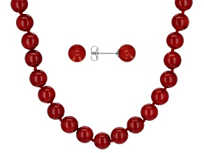 Pre-Owned Red Coral Rhodium Over Sterling Silver Necklace And Stud Earring Set