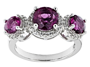 Pre-Owned Grape-Color Fluorite & White Zircon Rhodium Over Sterling Silver Ring 4.21ctw