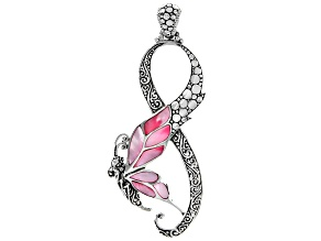 Pre-Owned Pink Shell Sterling Silver Butterfly Pendant