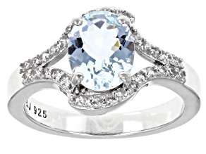 Pre-Owned Blue Aquamarine Rhodium Over Sterling Silver Ring 1.63ctw