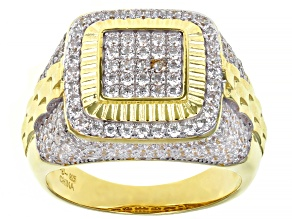 Pre-Owned White Cubic Zirconia 18K Yellow Gold And Rhodium Over Silver Mens Ring 3.48ctw