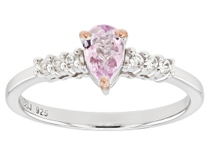 Pre-Owned Pink topaz rhodium over sterling silver ring .48ctw