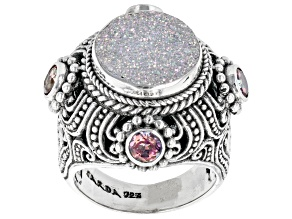 Pre-Owned Snow™ Drusy Quartz, Magnifique Sunrise™ Topaz Silver Ring 1.20tw