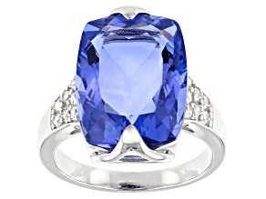 Pre-Owned Blue Color Change Fluorite Rhodium Over Silver Ring 12.77ctw