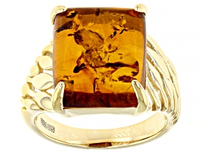 Pre-Owned Orange Amber 18K Yellow Gold Over Sterling Silver Ring 14x12mm